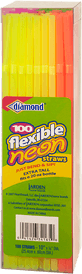 Flexible Neon Straws 10 inch tall